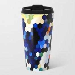 Yellow and Blue Honeycombs Travel Mug