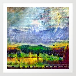 From Sunriver: Mt. Bachelor (Salt Watercolor) Art Print