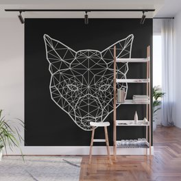 Geometric / Low Poly Fox (White) Wall Mural