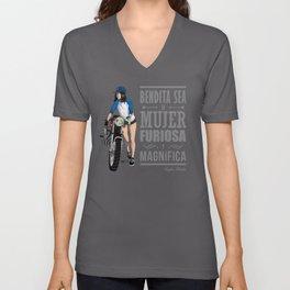 Biker girl Unisex V-Neck