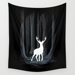 Glowing White Stag Wall Tapestry