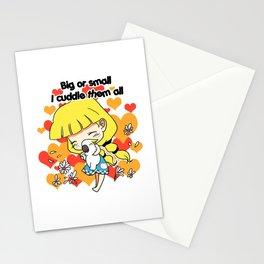 Girl cuddling birds cute cartoon Stationery Cards