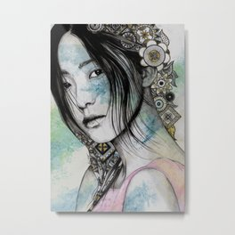 Stoic (asian girl street art portrait with mandala doodles) Metal Print