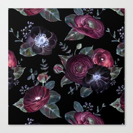 Fantasy Night Rose Red Canvas Print