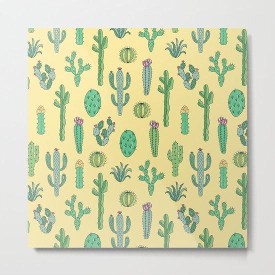 Cactus Pattern Yellow Metal Print