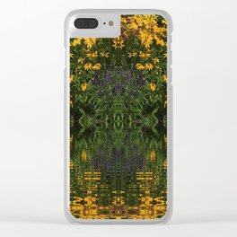 YELLOW RUDBECKIA DAISIES WATER REFLECTIONS Clear iPhone Case