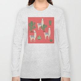 Llama with Cacti Long Sleeve T-shirt