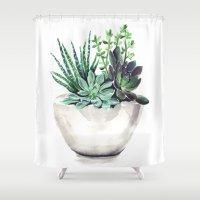 succulents Shower Curtains featuring Succulents by Bridget Davidson