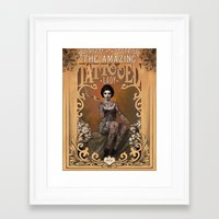 mucha Framed Art Prints featuring The Amazing Tattooed Lady by Rudy Faber