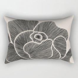 Black Peony II Rectangular Pillow
