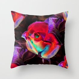 Red Colorful Rose Throw Pillow