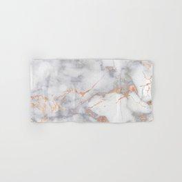 Gray Marble Rosegold  Glitter Pink Metallic Foil Style Hand & Bath Towel