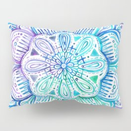 Iridescent Aqua and Purple Watercolor Mandala Pillow Sham