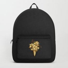 Waffle Horn with Gold Roses Backpack