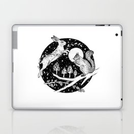 Jumping hare and squirrel, woodland Laptop & iPad Skin
