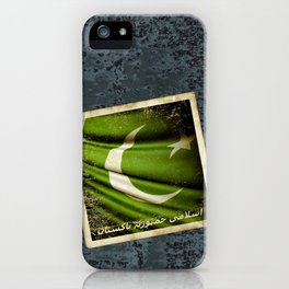 Islamic Republic of Pakistan grunge sticker flag iPhone Case
