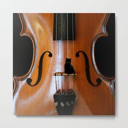Black Cat And Violin #decor #society6 Metal Print