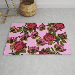 lazy cat floral pattern pink Rug