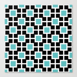 Classic Hollywood Regency Pattern 221 Turquoise and Black Canvas Print