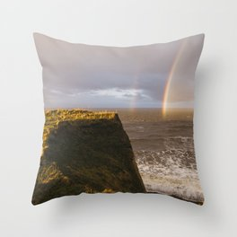 Rainbow and stormy sky at sunset. Sheringham, Norfolk, UK. Throw Pillow