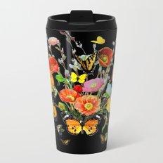 Black Butterfly Bouquet  Metal Travel Mug