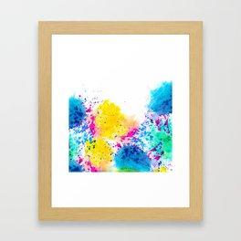 Blue Yellow Abstract Watercolor Neon Pink Splatter Framed Art Print