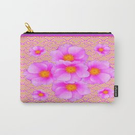 Asian Fuchsia-Pink-Yellow Design Wild Pink Roses Carry-All Pouch