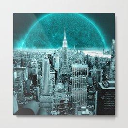 New New York Another World Aqua Teal Metal Print