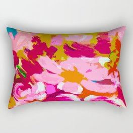 Abstracted Flower Painting in Hot Pink, red, spring green Rectangular Pillow