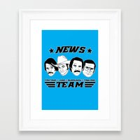 anchorman Framed Art Prints featuring news team - the anchorman by Buby87