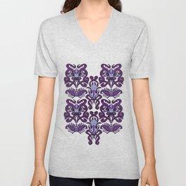 Monster Damask (purple) Unisex V-Neck