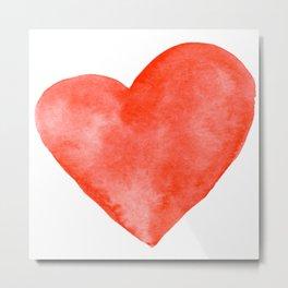 Red Watercolor Heart Metal Print