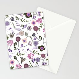 Colorful Abstract Flowers Pattern Stationery Cards