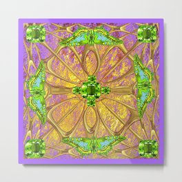 Lilac-Gold Green Peridot Gems August Birthstone Design Metal Print