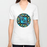 technology V-neck T-shirts featuring Blue Technology Abstract by Phil Perkins