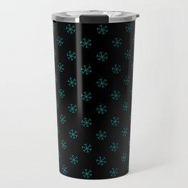 Teal Green on Black Snowflakes Travel Mug