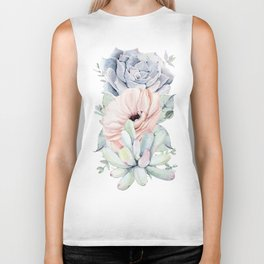 Pastel Succulents by Nature Magick Biker Tank
