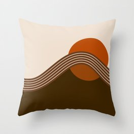 Cocoa Sundown Stripes Throw Pillow