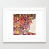 detroit Framed Art Prints featuring Detroit by MapMapMaps.Watercolors