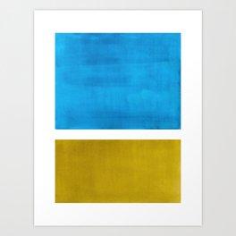 Colorful Bright Minimalist Rothko Olive Green Jewel Blue Midcentury Modern Art Vintage Pop Art Art Print