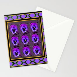 GARDEN OF PURPLE PANSY FLOWERS BLACK & TEAL PATTERNS Stationery Cards