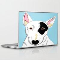 bull terrier Laptop & iPad Skins featuring Bull Terrier by EloiseArt