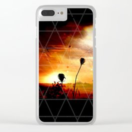 Stay Gold Sunset Digital Manipulation Clear iPhone Case