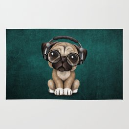 Cute Pug Puppy Dj Wearing Headphones and Glasses on Blue Rug
