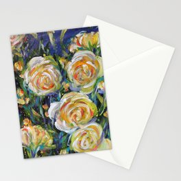 LET LIFE BE LOVABLE LIKE SUMMER ROSES - Original abstract floral painting by HSIN LIN / HSIN LIN ART Stationery Cards