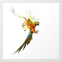 low poly Art Prints featuring Low poly Parrot by exya