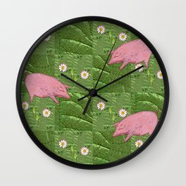 Three little pigs looking for daisies Wall Clock