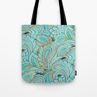 paisley Tote Bags featuring paisley, paisley by Ariadne