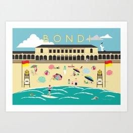 Bondi Beach Vintage Style Art Print Art Print