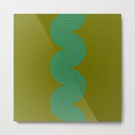 groovy minimalist pattern aqua waves on olive Metal Print